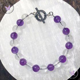 Amethyst & Clear Quartz Healing Bracelet